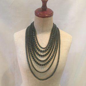 Natasha Multi Strand Verdigris Style Bead Necklace